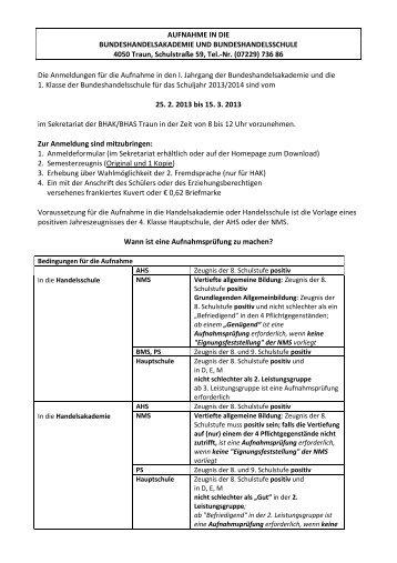 Anmeldegrundformular - HAK/HAS Traun