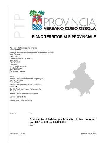 PIANO TERRITORIALE PROVINCIALE - Provincia del Verbano ...