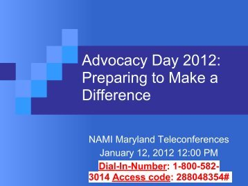 Advocacy Day Training PowerPoints - National Alliance for the ...