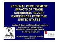 REGIONAL DEVELOPMENT IMPACTS OF TRADE CORRIDORS ...