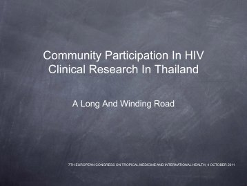 Community Participation In HIV Clinical Research In Thailand