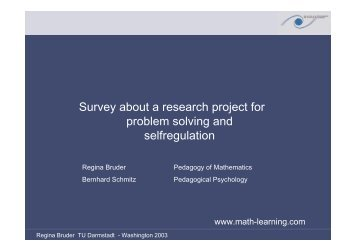 Survey about a research project for problem solving ... - math-learning