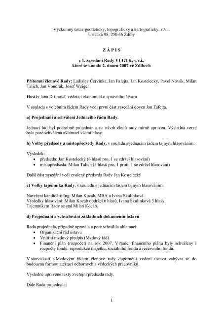 Zápis z 1. zasedání dne 2.2.2007 - vúgtk