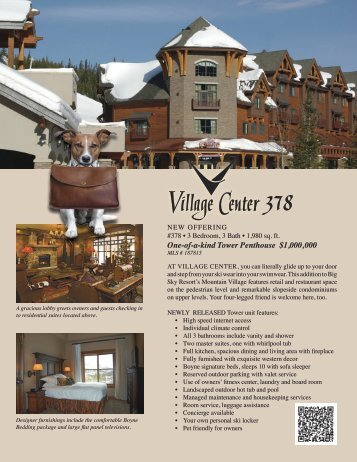 Download info sheet with specs and floor plans - Big Sky Resort