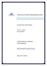 Türkiye Elektronik Haberleşme Sektörü, 2011 Yılı 1. Çeyrek Ocak