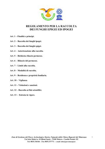 regolamento per la raccolta dei funghi epigei ed ipogei - Parco della ...