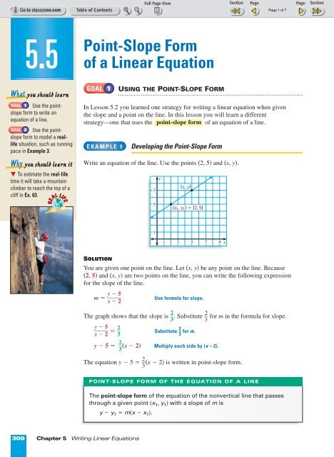 10.10 Point-Slope Form of a Linear Equation