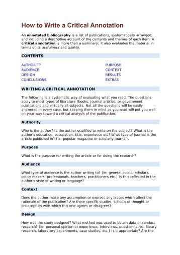 How to Write a Critical Annotation