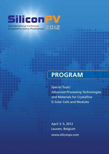 PROGRAM - SiliconPV 2012 Proceedings