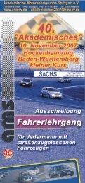 Ausschreibung Fahrerlehrgang 2007 - AMS eV