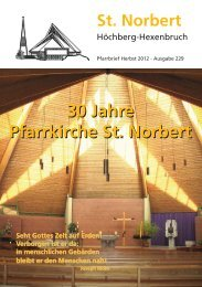 30 Jahre Pfarrkirche St. Norbert 30 Jahre Pfarrkirche St. Norbert