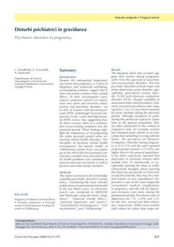 Disturbi psichiatrici in gravidanza Psychiatric disorders in pregnancy