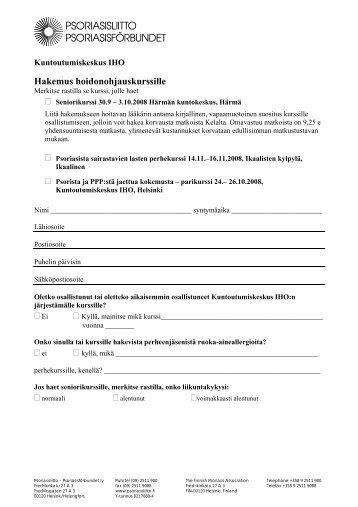 Hakemus hoidonohjauskurssille - Psoriasisliitto
