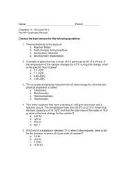 Chapters 11, 19.3 and 19.4 Pre-AP Chemistry Review Choose the ...