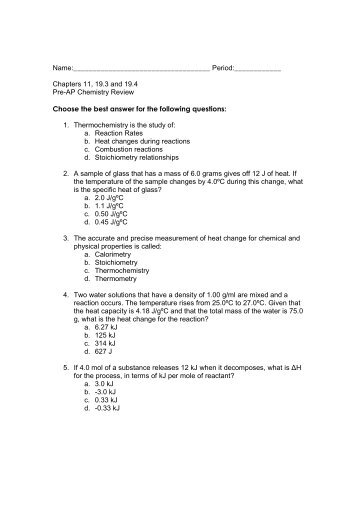 Chemistry 163 Study Guide Answer Key Chapter 18