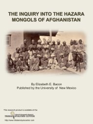 the inquiry into the hazara mongols of afghanistan - Tribal Analysis ...