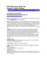 Talent Contest Rules - Redwood County Fair