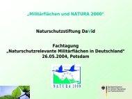 Militärflächen und NATURA 2000 - Naturstiftung David