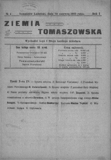 _ Na 4 Tomaszów Lubelski, dnia 20 czerwca 1922 roku. Rok I - PTTK