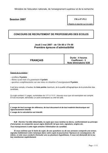 Sujet de français - Cndp