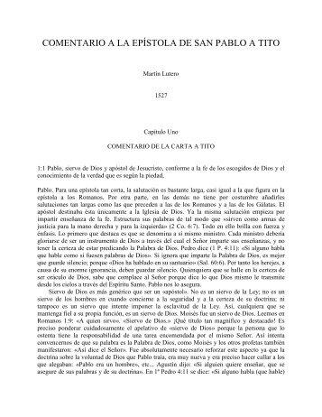 Comentario a Tito - Martín Lutero - Escritura y Verdad