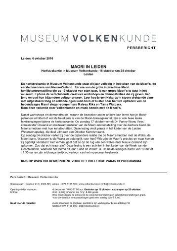 Herfstvakantie - Museum Volkenkunde