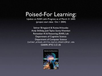 Poised-For Learning: - Rensselaer Artificial Intelligence and ...