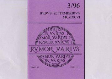 """Page 1 3/96 IDIBVS SEPTEMBRIBVS MCMXCVI """"ORVA RWS 11 ..."""
