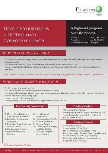 Develop Yourself as a Professional Corporate Coach - Progress-U