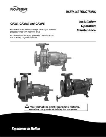 Flowserve pump parts manual