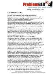 Unsere Pressemitteilung hier lesen - ProblemBER-Kampagne