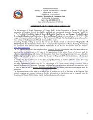 Government of Nepal Ministry of Physical Infrastructure & Transport ...