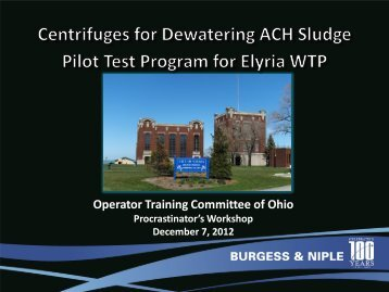 Centrifuges for Dewatering of ACH - Ohiowater.org