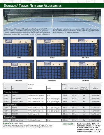Tennis Nets - Douglas Sports Nets and Equipment