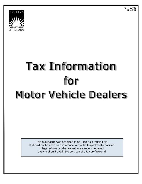 Tax Information For Motor Vehicle Dealers Florida Department Of