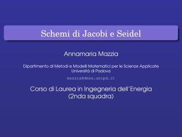 Schemi di Jacobi e Seidel - Esercizi e Dispense