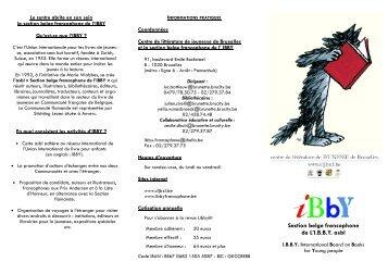 Section belge francophone de L'I.B.B.Y. asbl - Centre de Littérature ...