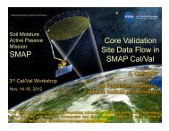 SMAP Core Validation Site Data Flow in SMAP Cal/Val