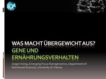 """Vortrag Dr. Jürgen König: """"Was macht Übergewicht aus? Gene und ..."""