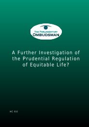 A further investigation of the prudential regulation of Equitable Life?