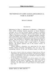 BIBLIOGRAPHIES THE WRITINGS OF NASIRU KABARA (MU ...