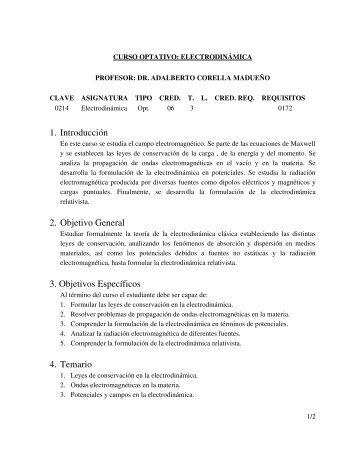 1. Introducción 2. Objetivo General 3. Objetivos Específicos 4. Temario