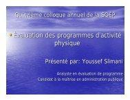 •Évaluation des programmes d'activité physique - La Société ...