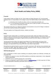 Work Health and Safety Policy (NSW) - Australian Pacific College