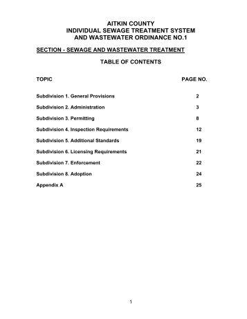 Individual Sewage Treatment System and Wastewater Ordinance No