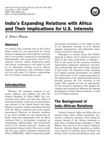 abstract of indo african relationship Genetic disorders and malaria in indo-china region prevalence of malaria in african ancestors to investigate the relationship between the incidence.