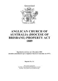 anglican church of australia (diocese of brisbane) property act 1889