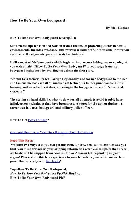How To Be Your Own Bodyguard - PDF eBooks Free Download