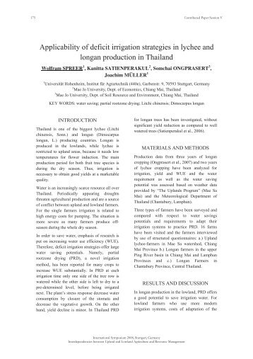 Applicability of deficit irrigation strategies in lychee and longan ...