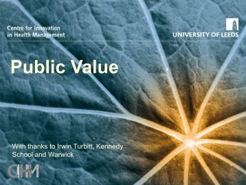 Public Value - Centre for Innovation in Health Management